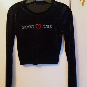 black velvet good girl shirt